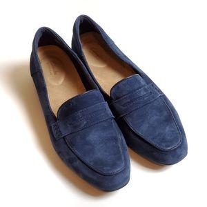 Clark's navy suede loafers size 7.5